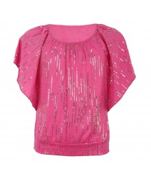 Amy Byer Pink Sequined Butterfly Blouse Big Girl