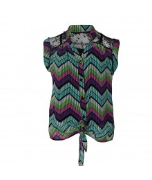 Speechless Blue/Purple Chevron Print Chiffon / Lce Sleeveless Top