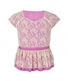 Amy Byer Lilac Peplum Top Wt Cream Overlay Lace Little Girl