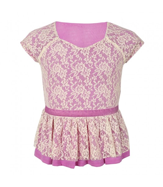 Amy Byer Lilac Peplum Top Wt Cream Overlay Lace