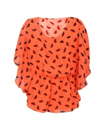 Tween Scene Orange Neon Chiffon 2-Pc Top Flutter Sleeve  Little Girl