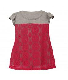 Lily Bleu Fush Lace Overlay Grey Knit Hi Low Blouse