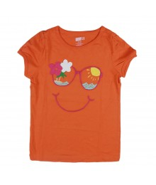 Crazy 8 orange girls tee with sunglasses face embry Little Girl
