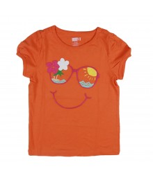 Crazy 8 orange girls tee with sunglasses face embry