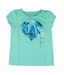 "Citrco Green Girls Tee Wt ""Heart "" Screen Print"