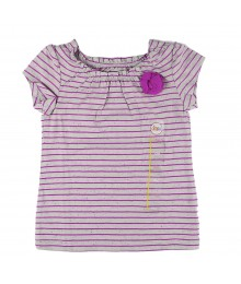 Citrco Grey Girls Tee Wt Purple Stripped