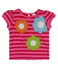 Gymboree Pink Stripped Girls Tee Wt Multi Floral Appliq