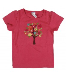 Gymboree Pink Girls Tee Wt Multi Embry Tree, Squirel N Gem