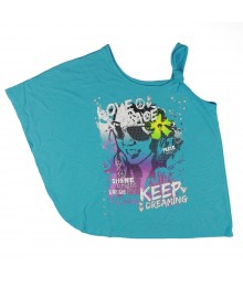 Sonoma Turq Assymmetrical Love & Peace Girls Top