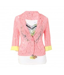 Knitworks Pink Lace Blazer Wt White Patterned Tee