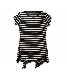 Total Girls Black/White Stripped Hi-Low Pleated Girls Top