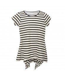 Total Girl White Wt Black Stripes Hi-Lw Pleaedt