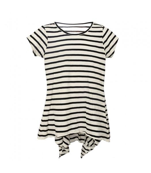 Total Girl White Wt Black Stripes Hi-Lw Pleaedt