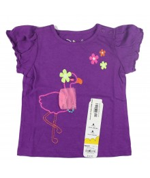 Jumping Beans Purple Girls Tee Wt Flamigo Emb