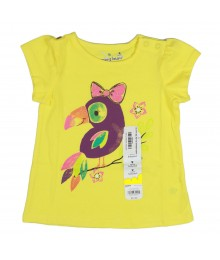 Jumping Beans Yellow Tee Wt Parrtprint N Eyelet Sleeve Baby Girl