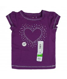 Jumping Beans Purple Girls Tee Wt Heart Glitter