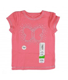 Jumping Beans Coral Girls Tee Wt Butterfly Glitter Baby Girl
