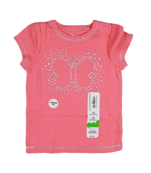 Jumping Beans Coral Girls Tee Wt Butterfly Glitter