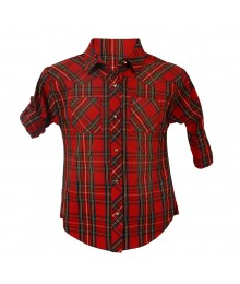 Gb Girls Red Multi Plaid Long Sleeve Button Down Girls Shirt