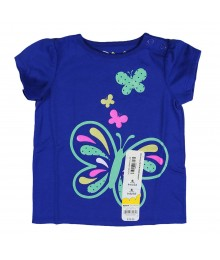 Jumping Beans Blue Butterfly Print Girls Tees