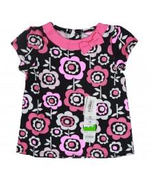 Jumping Beans Black Wt Flower Print N Pink Bow Babydoll Top
