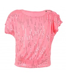 Amy Byer Pink Neon Sequined Butterfly Blouse
