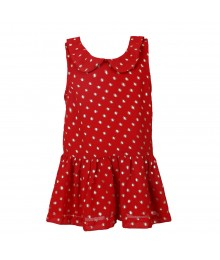 Joe Fresh Red Chiffon Peplum Top Wt Gold Dot