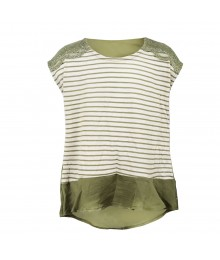 Speechless Green/Ivory Lace Trimmed, Stripped Hi-Lo Top Little Girl