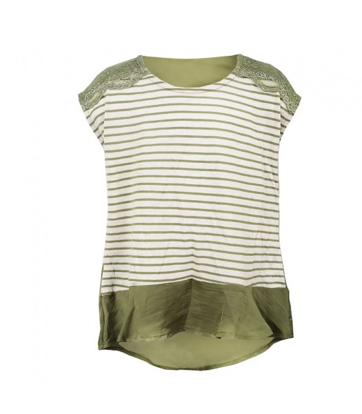 Speechless Green/Ivory Lace Trimmed, Stripped Hi-Lo Top