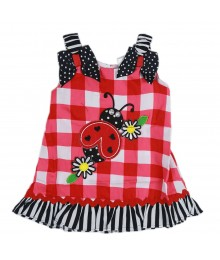 Youngland Red/Whte Check Dress Wt Ladybug Appliq Baby Girl