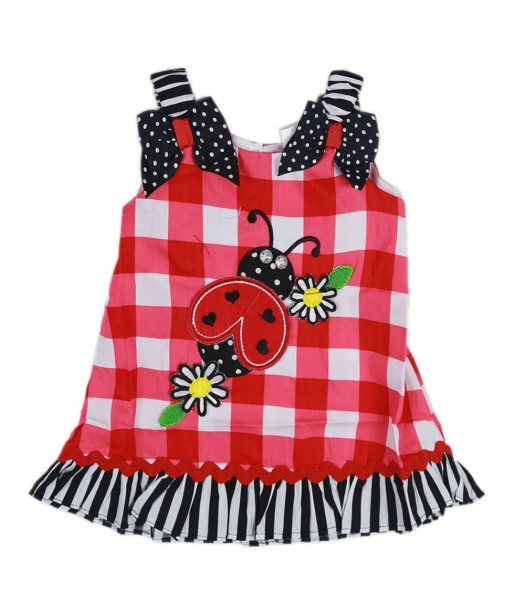 Youngland Red/Whte Check Dress Wt Ladybug Appliq