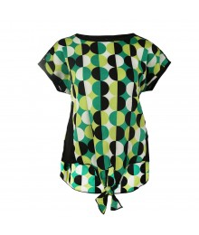 Sequin Heart Green/Black Dotted Silk Tie Font Top Big Girl