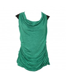 A.Byer Jade Green  Studded Cowl Neck Top