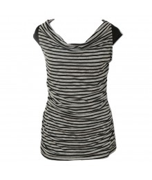 A.Byer Black/Grey Cowl Neck Top Juniors