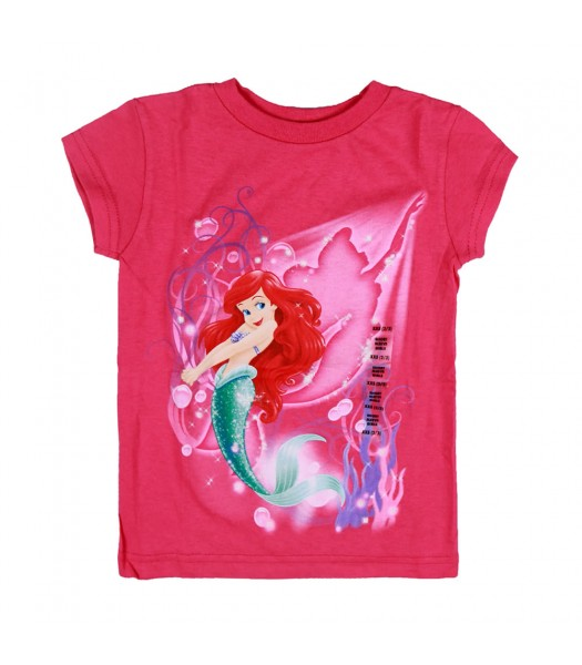 Disney Pink Ariel Graphic Girls Tee