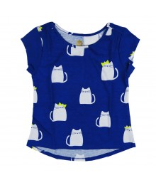 Total Girl Blue Fat Cat Graphic Hi/Lo Tee