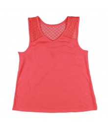 Total Girl Orange Tank Tee with Lacy Back