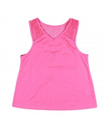 Total Girl Pink Tank Tee with Lacy Back