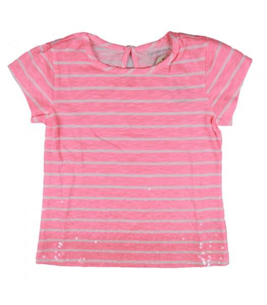 Arizona Pink Sparkle Striped Girls Tee