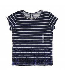 Arizona Navy Sparkle Striped Girls Tee
