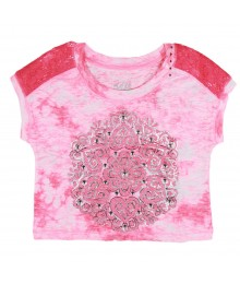 Justice Pink Cropped Tee Wt Shimmer Butterfly Print N Studs