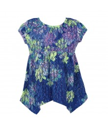 Justice Blue/Lemon/Lilac Lace Tunic Blouse