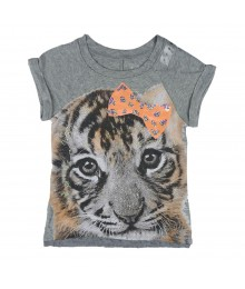 Justice Grey Girls Tee Wt Tige Face