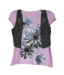 Justice Lilac Tee Wt Shimmer Flower Graphic N Lacey Grey Shrug