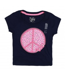 Justice Navy Girls Tee Wt Big Pink Studded Peace Sign