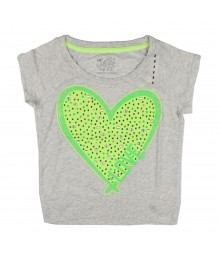 Justice Grey Girls Tee Wt Big Lemon Studded Heart Sign