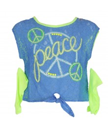 Justice Lemon/Blue Lace Cropped Tie Top Little Girl
