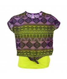 Lei Purple Chiffon Zigzag Print Top Overlay Lemon Tank Top