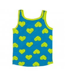 Okie Dokie Lemon/Turq Tank Tee Wt Dragon Fish Print Little Girl