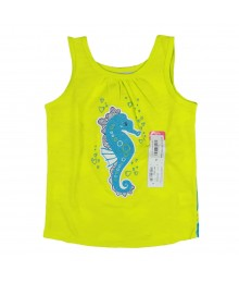 Okie Dokie Lemon/Turq Tank Tee Wt Dragon Fish Print